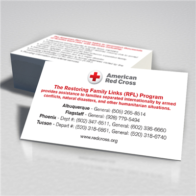 American Red Cross Business Card Restoring Family Double Sided